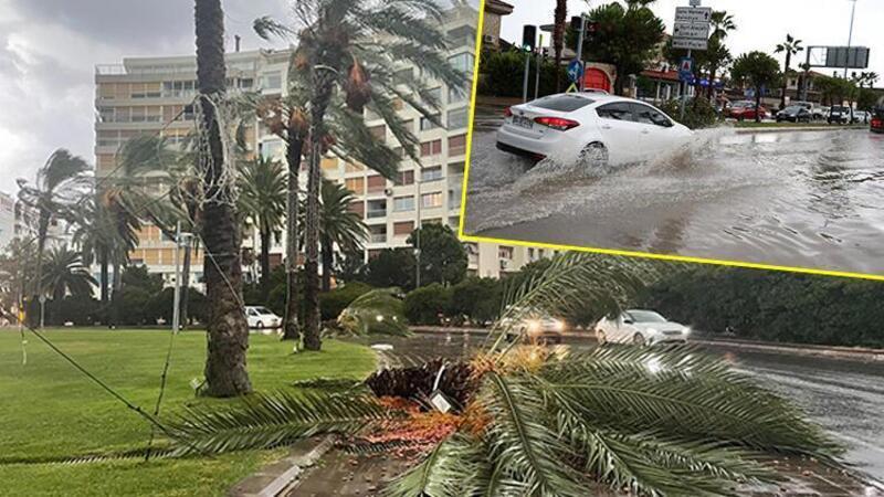 İzmir'de kuvvetli sağanak ve rüzgar! Kordon'da deniz taştı