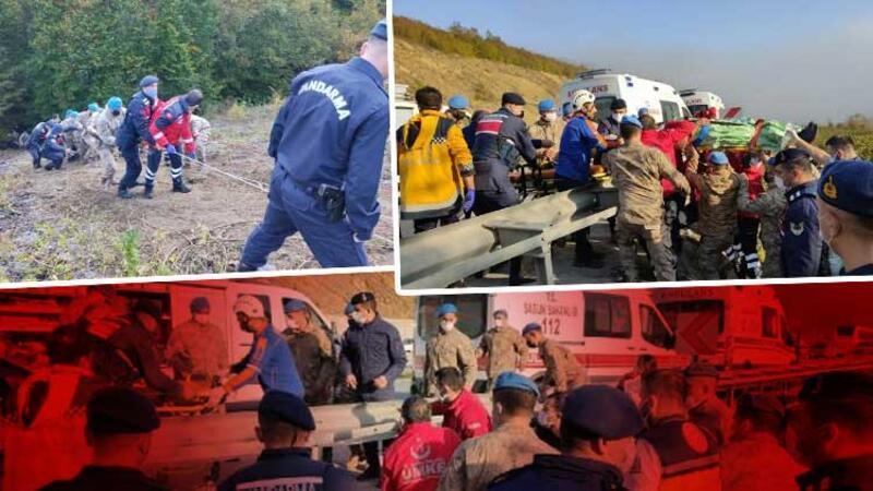 Samsun'da yolcu otobüsü dereye yuvarlandı! Kazadan ilk görüntüler