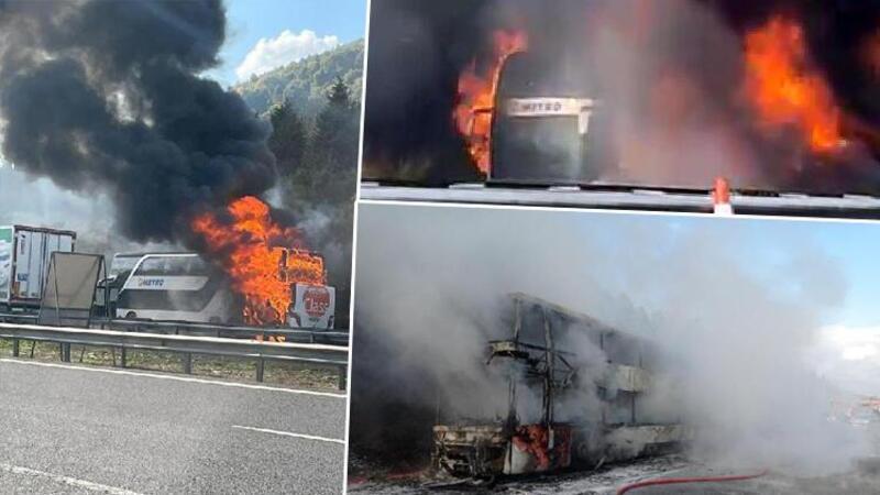 Düzce'de 2 katlı yolcu otobüsü alev alev yandı