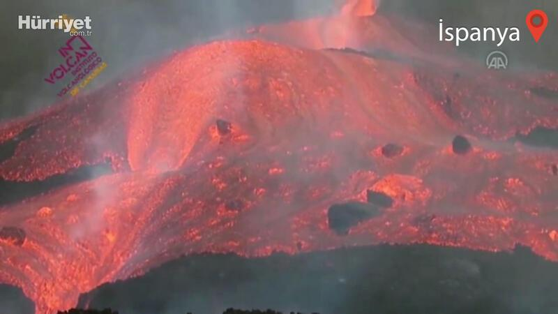Cumbre Vieja Yanardağı'nın ana ağzında meydana gelen bir kırılma sonrasında oluşan lav akışı görüntülendi