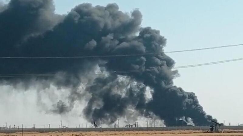 Kamışlı'da petrol kuyusunda yangın