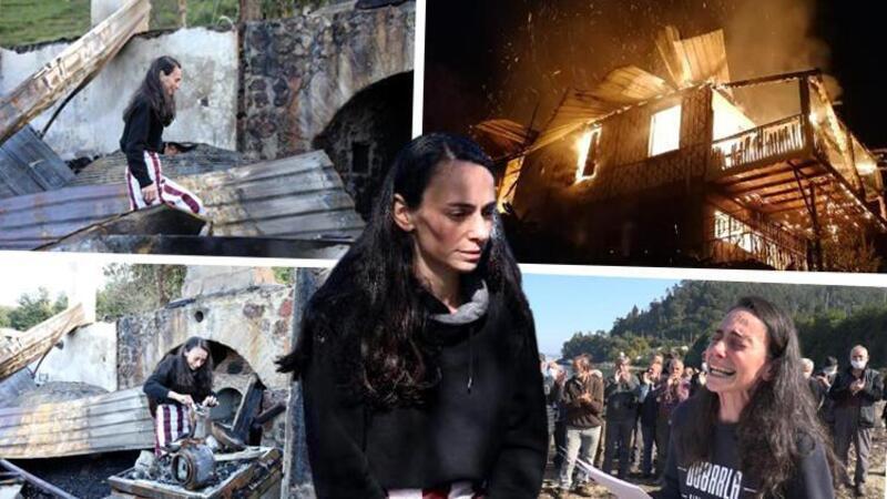 Çevreci ressam Gökçe Erhan, yanan evinde gözyaşlarıyla eşyalarını aradı