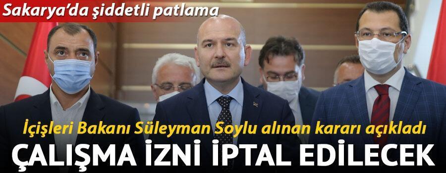 Son dakika haberleri... İçişleri Bakanı Süleyman Soylu alınan kararı açıkladı Havai fişek fabrikası kapanıyor
