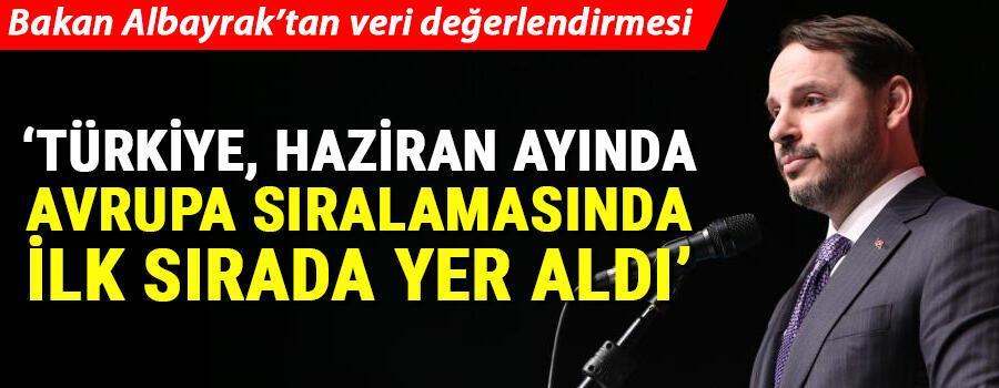 Son dakika... Bakan Albayrak: Türkiye, haziran ayında Avrupa sıralamasında ilk sırada yer aldı