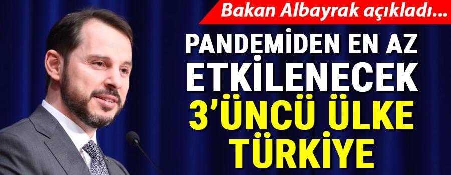 Son dakika... Bakan Albayrak: Pandemiden en az etkilenecek 3. ülke Türkiye