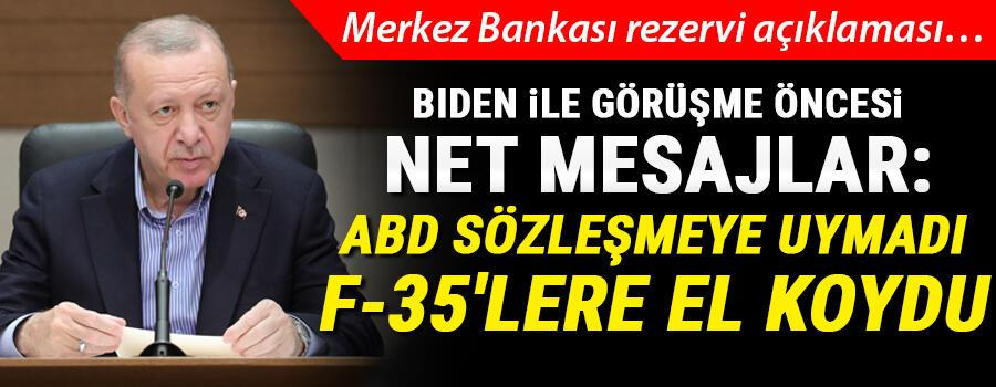 Son dakika... Cumhurbaşkanı Erdoğandan ABD Başkanı Biden ile görüşme öncesi net mesajlar: ABDye sözleşmeye uymadı, F-35lere el koydu